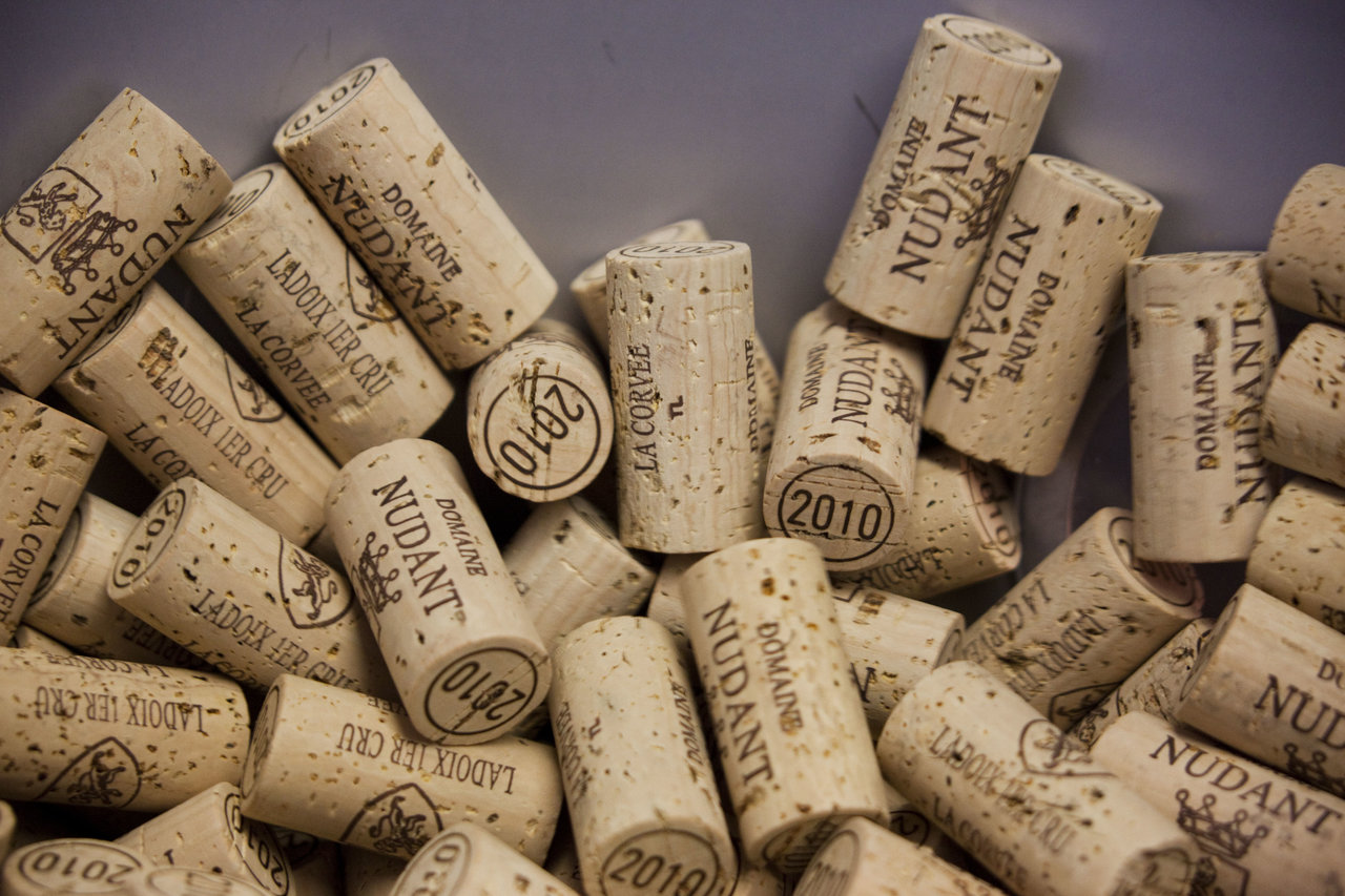 Corking the bottles with natural cork